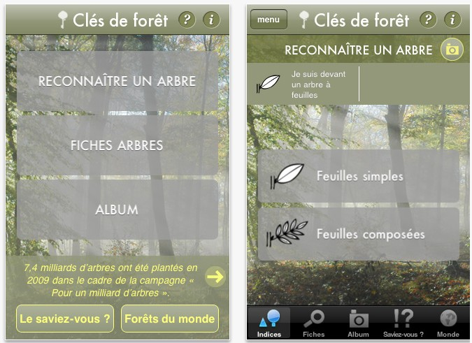 visuel de l'application iphone